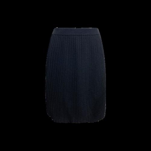 St. John Black Pleated Wool Skirt