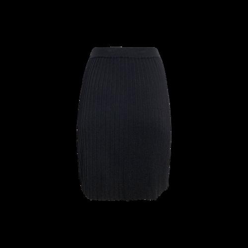 Black Pleated Wool Skirt