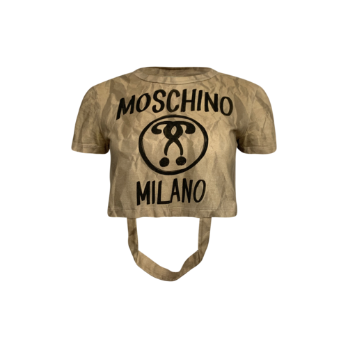 Moschino Cropped Beige Recycled Paper Bag Tee w/ Handles