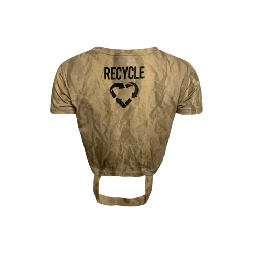 Cropped Beige Recycled Paper Bag Tee w/ Handles