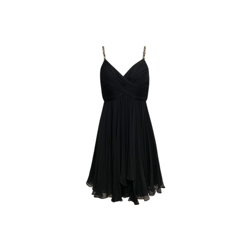 Marchesa Notte Black Silk Dress w/ Jeweled Straps