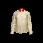 Light Pink Silk Long Sleeve Button Down w/ Red Collar