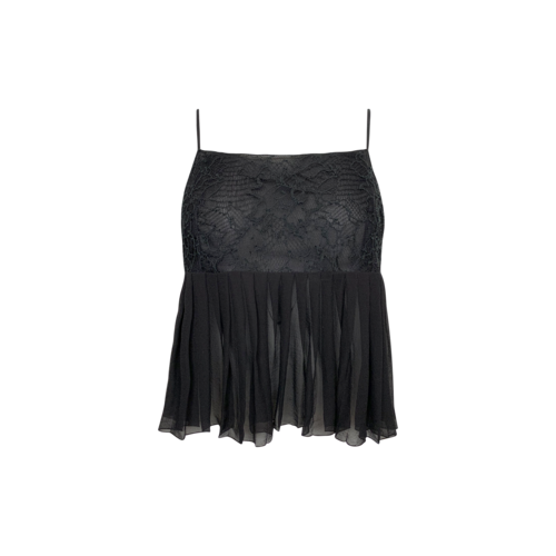 CHANEL Black Sheer Pleated Lace Top