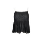 Black Sheer Pleated Lace Top