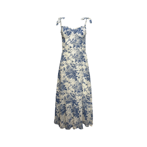 """Reformation Blue """"Swallow and Rose"""" Printed Tie Strap Midi Dress"""