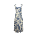 """Blue """"Swallow and Rose"""" Printed Tie Strap Midi Dress"""
