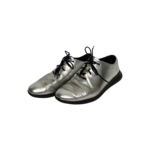 Metallic Silver Patent Leather Laser Cut Oxford Sneakers