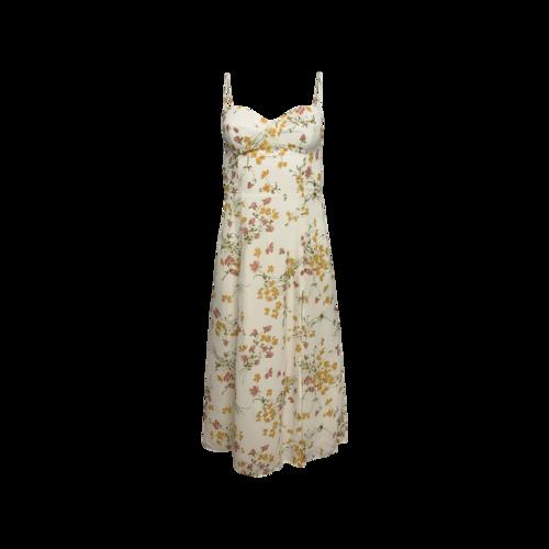 "Cream ""Juliette"" Floral Print Slip Dress"