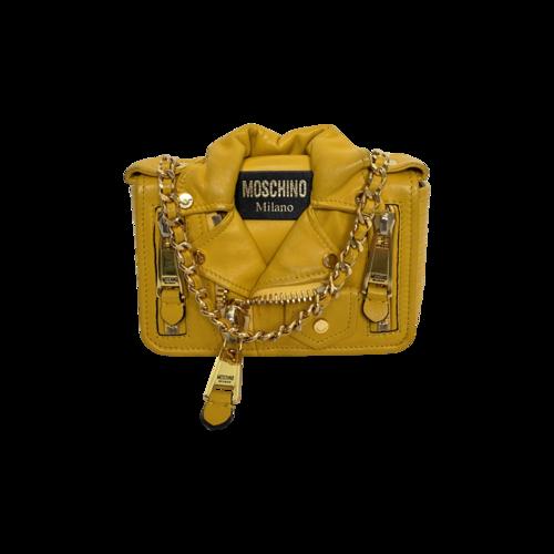 Moschino Yellow Biker Crossbody Bag