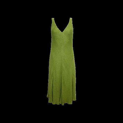 Vintage Chartreuse Back Plunge Beaded Dress
