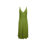 Chartreuse Back Plunge Beaded Dress