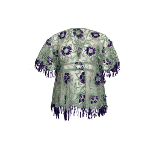 Anna Sui Floral Lines Guipure Lace Top w/ Purple Fringe Flowers