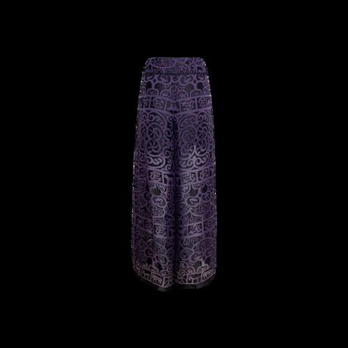 Purple Silk Chiffon Semi-Sheer Woodland Pants