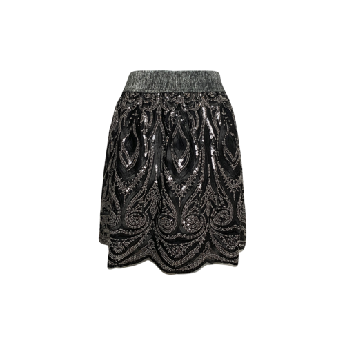 Black & Silver Sequin Embroidered  Mini Skirt
