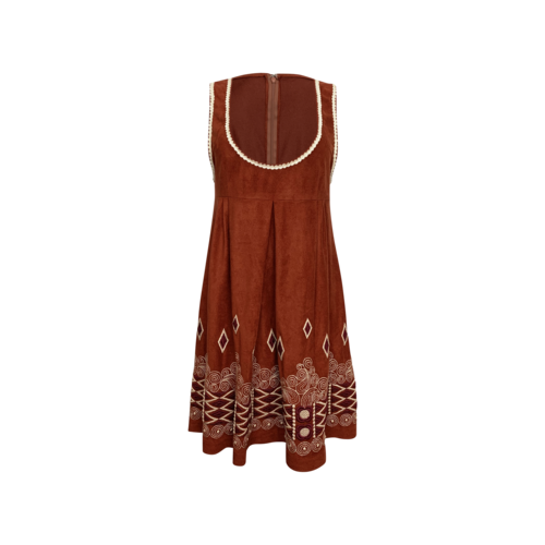 Anna Sui Brown Suede Embroidered Dress
