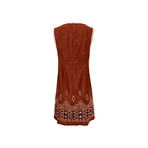 Brown Suede Embroidered Dress