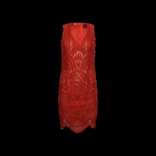 Bardot Lipstick Red Embroidered Dress