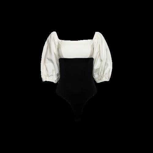ASTR Two Tone Puff Sleeve Bodysuit