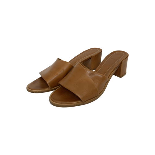 Theory Brown Folded Mid-Heel Leather Slides