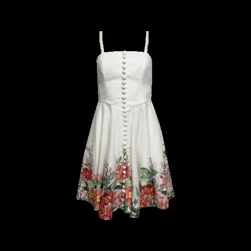 "Zimmermann White Floral Print ""Bellittude"" Bustier Short Dress"