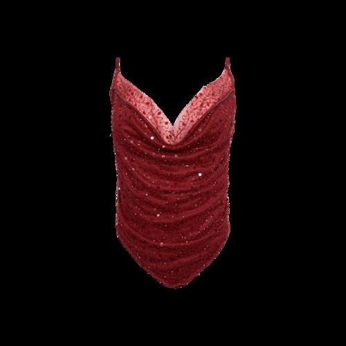 Dyspnea Red Sequin Cowl Neck Open Back Top