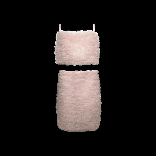 "Dyspnea Pink 2-Piece  ""Riff Raff"" Crop Top and Skirt Set"