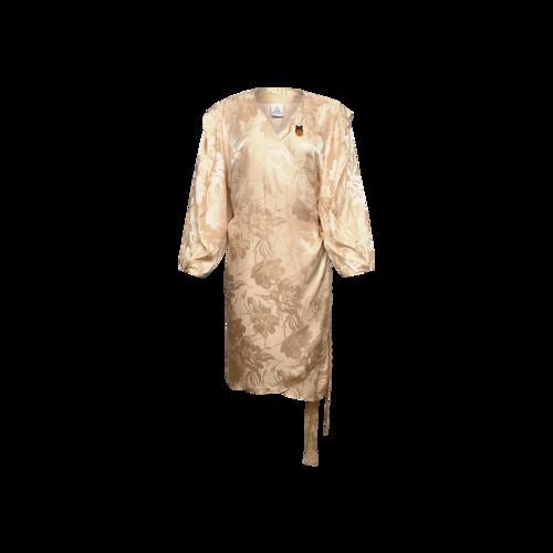 Second Sight Peach Floral Print Silk Wrap Dress