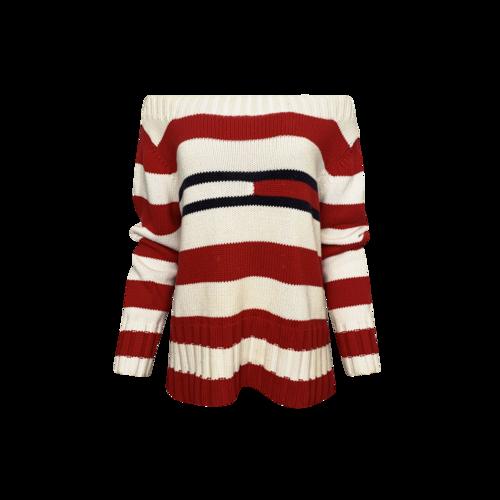 Tommy Hilfiger Red Striped Off-the-Shoulder Logo Sweater