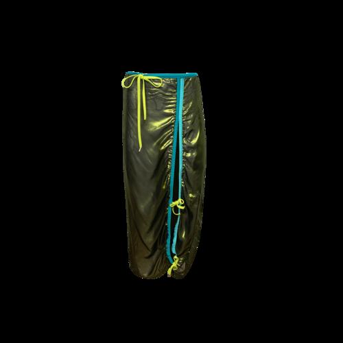 Chromat Green Slit Tie Skirt