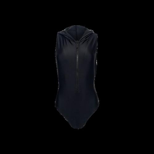 Chromat Black Hooded Front-Zip Bodysuit