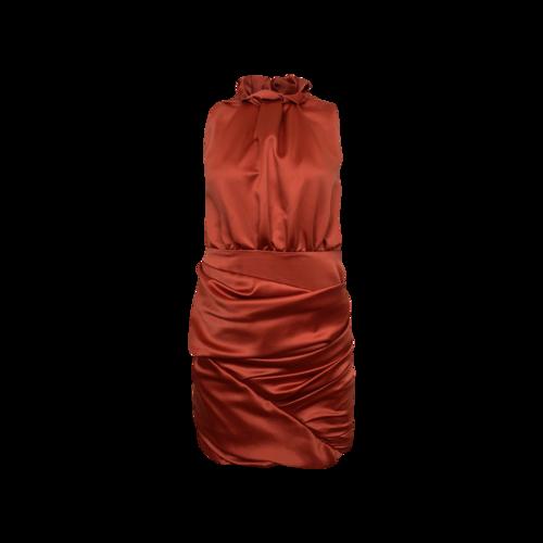 Camilla and Marc Red Silk Peek-A-Boo Back Dress