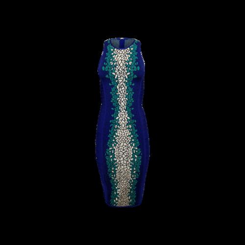 Herve Leger Blue Geometric Pattern Bandage Dress