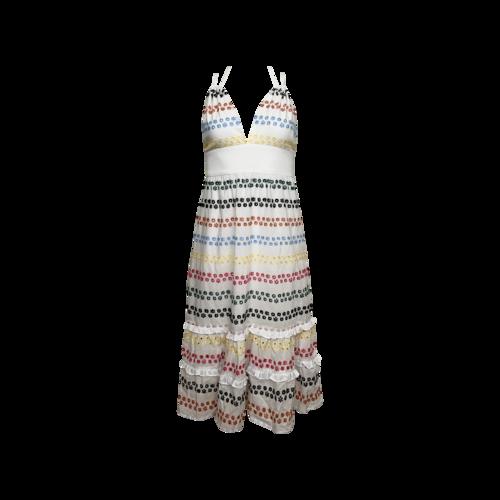 BCBGMAXAZRIA White Multi-Color Eyelet Halter Dress