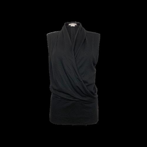 Helmut Lang Black Wool Surplice Top