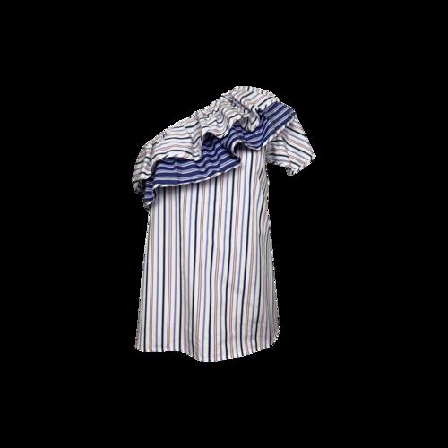 Parker Multi Stripe One-Shoulder Ruffle Top