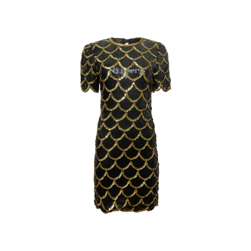 Vintage Eve's Allure Gold and Black Scallop Pattern Sequin Dress