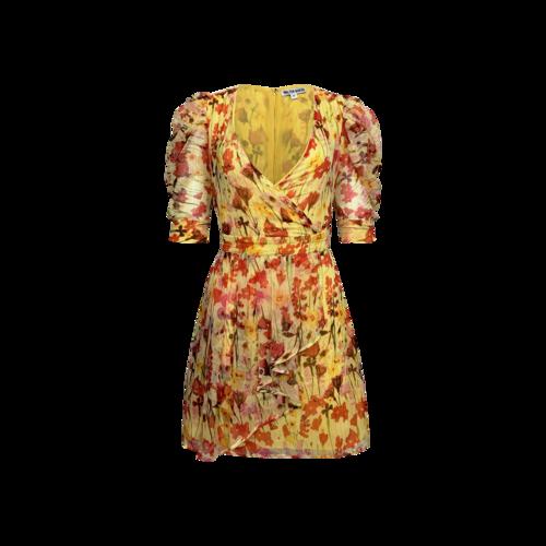 "Walter Baker Yellow Tulip Print ""Adriana"" Dress"