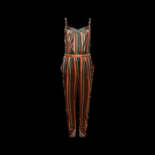 Vintage Ulyana Sergeenko Multi-Color Stripe Silk Jumpsuit
