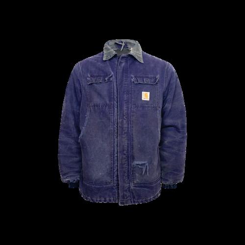 Vintage Blue Carhartt Duck Jacket w/ Corduroy Collar