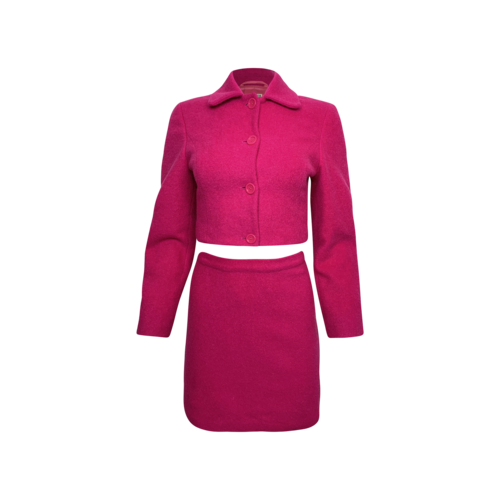 Vintage Hot Pink United Colors of Benetton 2 Piece Wool Jacket and Skirt Set