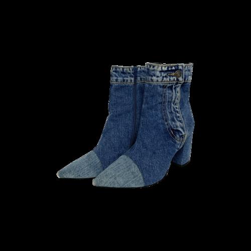 Jeffrey Campbell Blue Denim Finite Block Heel Booties