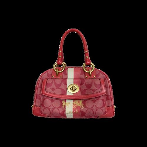Coach Pink Heritage Stripe Dome Bag