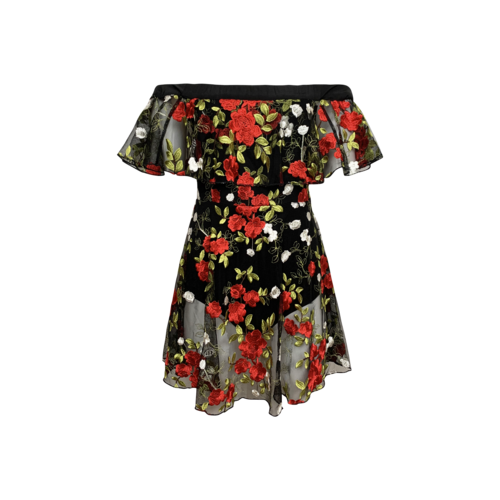 """Lovers and Friends Black Sheer Floral Embroidered """"Erica"""" Dress"""