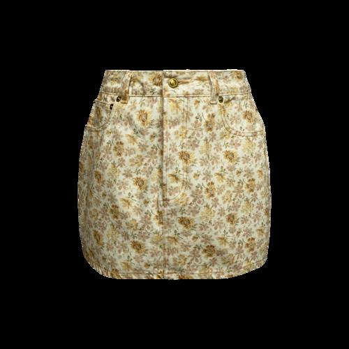 Heavy Manners Yellow Floral Print Denim Skirt