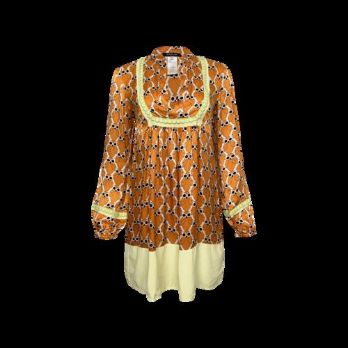 Patrizia Pepe Orange Retro Owl Print Silk Dress