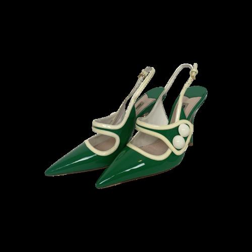 Miu Miu Green Patent Leather Slingback Heels