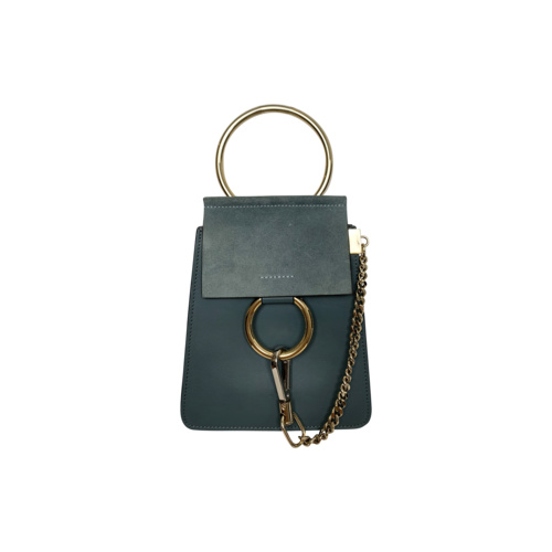 """Chloé """"Faye"""" Small Suede and Leather Bracelet Bag in Cloudy Blue"""