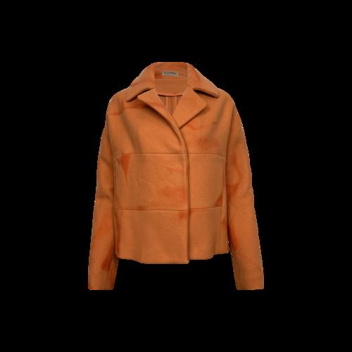 Bottega Veneta Orange Splotchy Cashmere Coat