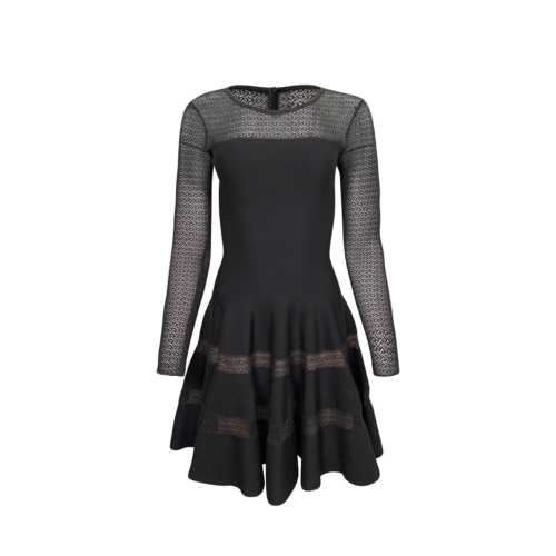 Alaïa Black Knit Dress w/ Mesh Inset