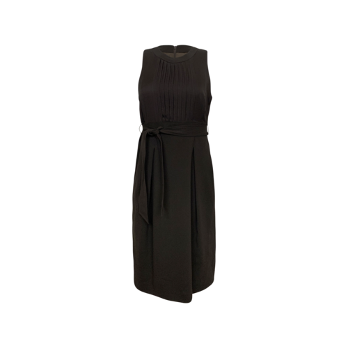 Burberry Dark Cocoa Brown Pencil Dress w/ Waist Tie